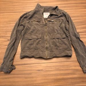 MOSSIMO Target Tencel Olive Zip Military Jacket M